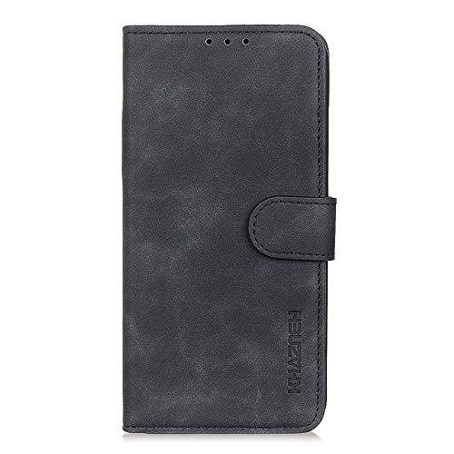 TOPOFU Hochwertige Leder Handyhülle für UMIDIGI A7S Hülle, Flip Hülle Tasche mit Magnetverschluss, Leder Schutzhülle mit Kreditkarten - Schwarz