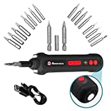POWEREXTRA Electric Screwdriver Kit 16W Drill Compact Mini Cordless Screwdriver Set Rechargeable Bits 2000mAh Li-ion,1/4 in & 5/32 in Screwdriver Bits,3 LED Working Light,Current detector