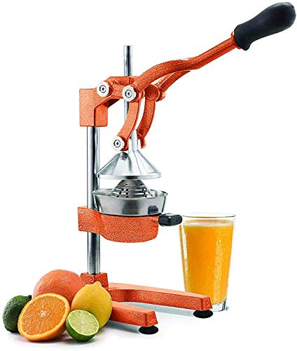 Manual Fruit Juicer - Commercial Grade Home Citrus Lever Squeezer for Oranges Lemons Limes Grapefruits and More - Stainless Steel and Cast Iron - Non-skid Suction Cup Base - 15 Inch Orange Vollum