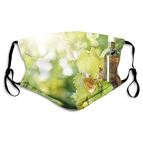 Maschere lavabili riutilizzabili per donne e uomini, bottiglia di vino bianco giovane vite e grappolo d'uva in verde primavera,15,2 x 19,9 cm medio unisex adulto