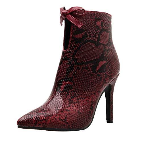 Botines Cremallera En El Tobillo Serpiente Pintada Mujer Sexy Puntiagudo Toe Arco TacóN De Aguja Botines Casuales