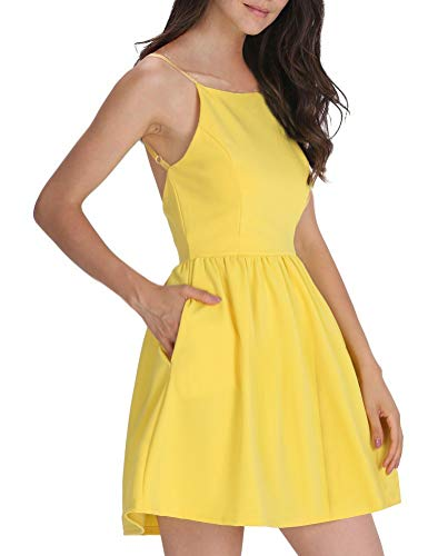 FANCYINN Damen Sommerkleid Armellos Spaghetti-Armband Kleider Elegant Rückenfreies Kurze Kleid Minikleid Gelb M(38-40)