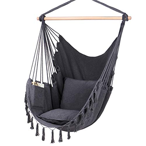 Y- STOP Hammock Chair Hanging Rope Swing-Max 330 Lbs-2 Cushions Included-Large Macrame Hanging Chair with Pocket- Quality Cotton Weave for Superior Comfort & Durability (Grey)