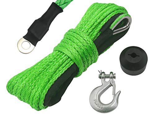 """N/N TYT 3/16"""" x 50' Synthetic Winch Rope Kit, 7000LBs Synthetic Winch Line Cable Rope with Black Protecing Sleeve, Snap Hook and Rubber Stopper for 4x4/ATV/UTV/Jeep(Green)"""