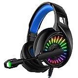 Iluminación LED auricular para juegos, Juegos Sobre-Oído Auricular con micrófono y cancelación de ruido y control de volumen para el interruptor de la PC del ordenador Mac Nintendo PS4 Xbox One,B