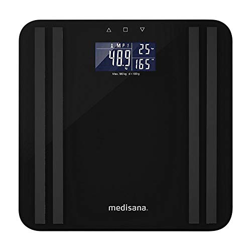 medisana BS 465 weegschaal voor lichaamsanalyse tot 180 kg, personenweegschaal voor het meten van lichaamsvet, lichaamswater, spiermassa en botgewicht, lichtindicator voor lichaamsvetschaal