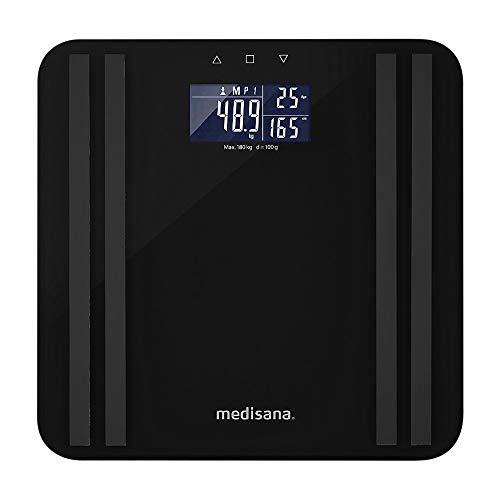 Medisana BS 465 báscula de análisis corporal de hasta 180 kg, báscula personal para medir la grasa corporal, el agua corporal, la masa muscular y el peso de los huesos, Indicador luminoso