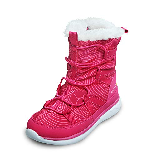 CX ECO Reißverschluss Baumwollschuhe Winter Skischuhe Cosy Leichter Winterschuh Hohe Stiefelette Warm halten Wasserdicht Rutschfeste, flache Fußwanderung,Pink,32EUR