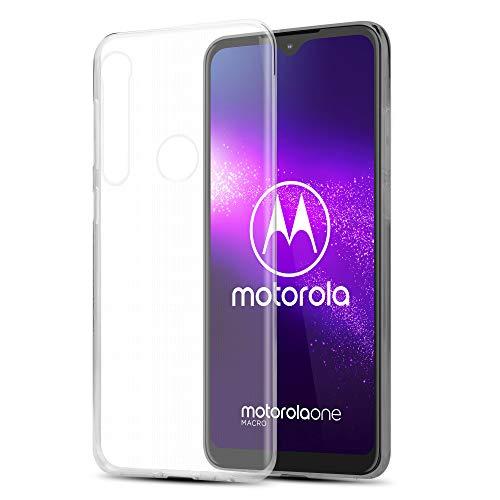 Cadorabo Hülle für Motorola ONE Macro in VOLL TRANSPARENT - Handyhülle aus flexiblem TPU Silikon - Silikonhülle Schutzhülle Ultra Slim Soft Back Cover Hülle Bumper