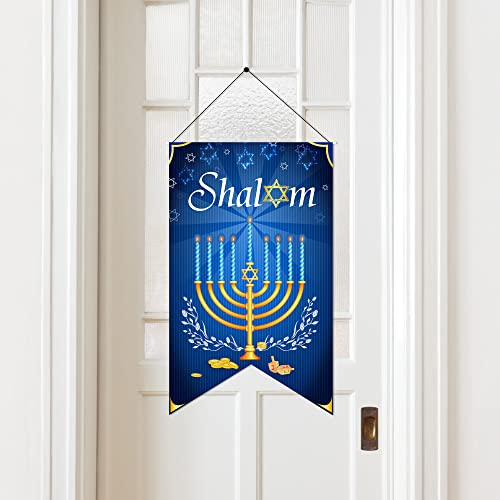 Hanukkah Porch Decor Shalom Decorations Chanukah Door Sign Hanukkah Hanging Welcome Sign Banner Fabric for Holiday
