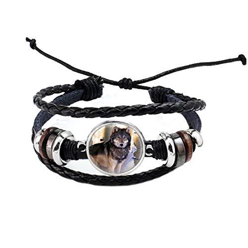 Pulsera de lobos en el bosque de arte, pulsera de lobo, pulsera de animales, brazalete de lobo, brazalete de lobo, brazalete de hombre, brazalete de mujer # 188