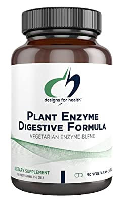 Designs for Health Plant Enzyme Digestive Formula - Vegetarian Digestive Enzymes Supplement - Gut Support with Hemicellulase, Protease + More - May Support Occasional Gas + Bloating (90 Capsules)