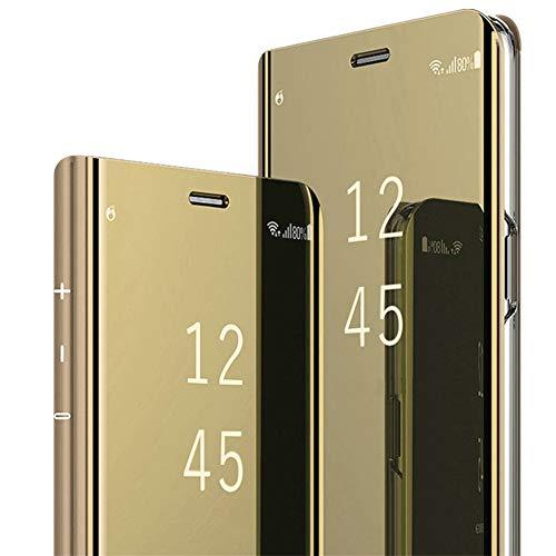 Compatible con Samsung Galaxy S6/S6 Edge/S6 Edge Plus Funda de espejo Funda de piel sintética Flip Teléfono Case Clear View Standing Cover para Galaxy S6/S6 Edge dorado Talla única