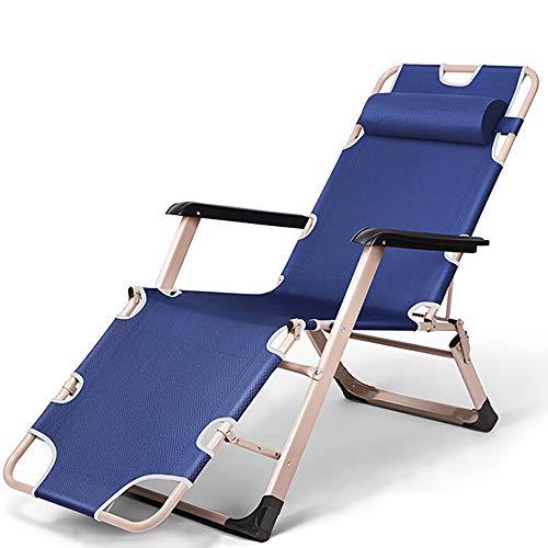 YQAD - Tumbona de metal plegable para jardín, oficina, jardín, patio, playa, al aire libre, 2 unidades