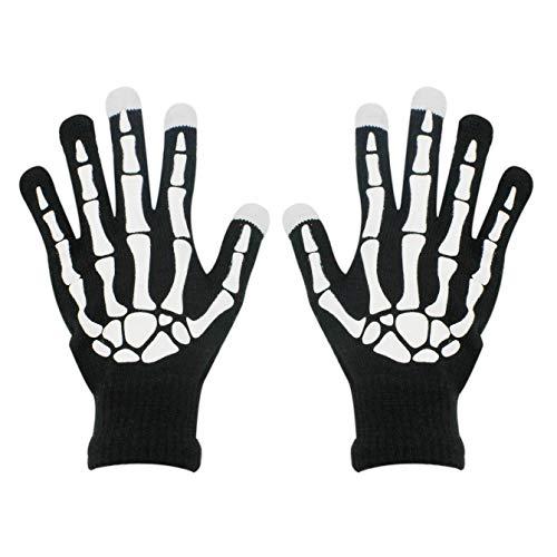 RARITY-US Halloween Party Skeleton Gloves Skull Fancy Costume Touchscreen Knit Golves Unisex Adult for Women Men, White&black, One Size