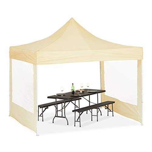 Relaxdays Faltpavillon 3x3m mit 2 Seitenwänden, Partyzelt, klappbar, wasserabweisend, stabil, PVC, champagnerfarben