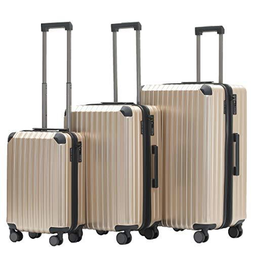 Münicase M816 TSA-Schloß Koffer Reisekoffer Trolley Kofferset Hardschale Boardcase Handgepäck (Champagner, 3tlg. Kofferset)