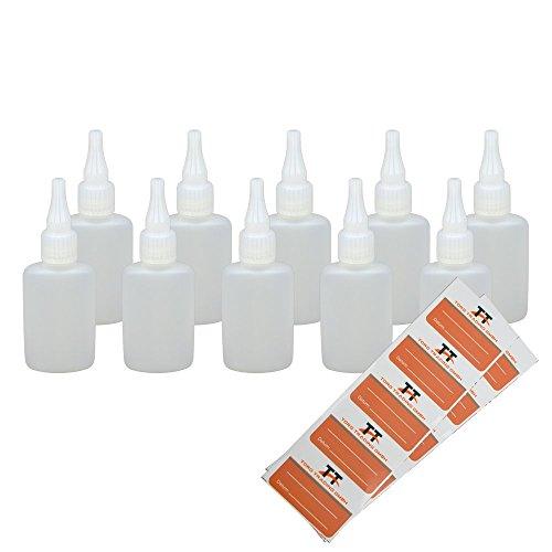 Ovale Liquid-Flaschen 10 x 50ml - Flachmann, Kunststoffflaschen aus weichem PE inkl. 10 Etiketten (weiß/transparent) - Liquid Flasche - Tropfflaschen,Dosierflaschen,Dropper Flaschen,Quetschflaschen