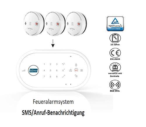 LGtron LH-99F Funk Rauch-/Hitzemelder TÜV geprüft EN14604 Zertifiziert mit 10-J.-B im Vernetzbaren...