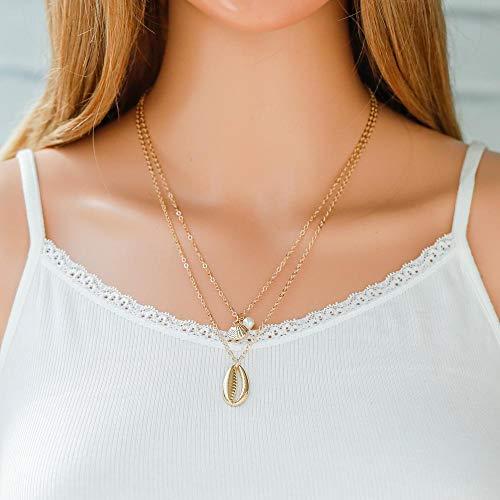 Jovono Collar Bohemio Multi Capa Collar con Perla y Concha Colgante para Mujeres y Niñas