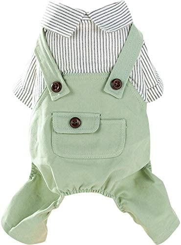 HOODDEAL Dog Striped Shirts Cozy Breathable Denim Overalls Pet Jumpsuit Cute Stretchy Puppy product image