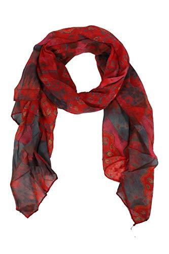 Zwillingsherz Seiden-Tuch im Sommer Design - Hochwertiger Schal für Damen Mädchen - Halstuch - Umschlagstuch - Loop - weicher Schlauchschal für Frühjahr Sommer Herbst und Winter - rot