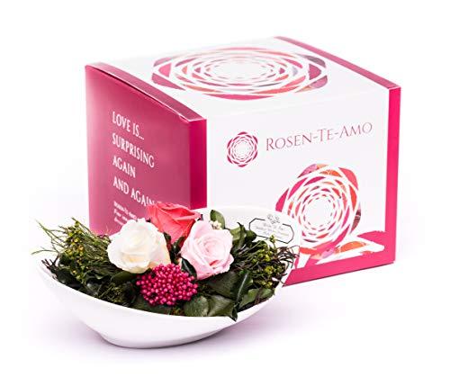 Rosen-Te-Amo, Blumenstrauß - duftige konservierte ewige Rosen in Porzellan Vase handgefertigt mit echten Foliage in Geschenk-Box. Infinity Rosen sie & Deko Wohn-Zimmer