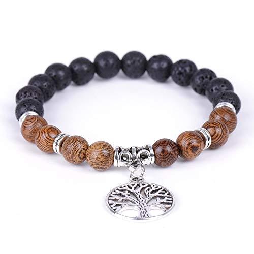 Wenge Wood Beads Bracelet with Tree of Life, Lava Rock Stone Diffuser Healing Stone Mala Bead Aromatherapy Bracelet Women Men Boho Jewelry Gift