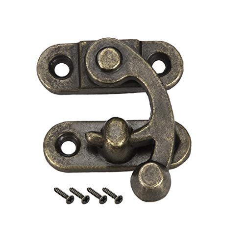 uxcell Antique Vintage Lock Clasp Right Latch Hook Hasp 33mm x 28mm Swing Arm Latch Plated Bronze, 2 Pcs W Screws