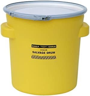 """Eagle 1654 Yellow Blow-Molded HDPE Salvage Drum with Metal Ring Lever-Lock Lid, 20 gallon Capacity, 21"""" Height, 21"""" Diameter"""