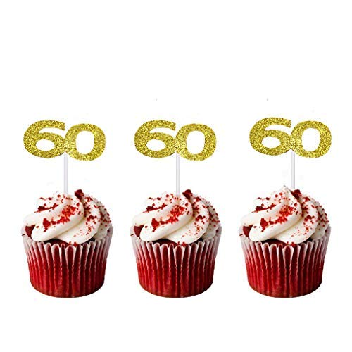 Lasoue 36 Pack Gold Glitter 60th Birthday Cupcake Topper Cake Picks for Birthday Party Supplies