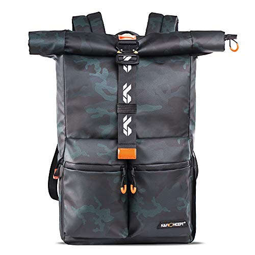 """K&F Concept Camera Backpack Waterproof Photography Camera Bag 15.6"""" Laptop Compartment for SLR/DSLR Camera, Lens and Accessories with Rain Cover"""