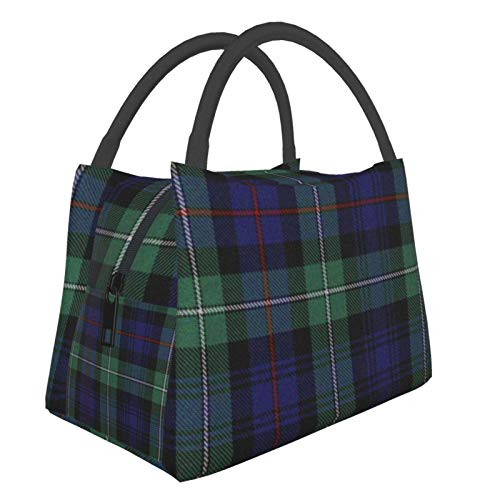 Bolsa de aislamiento portátil de color negro para reloj de tartán de moda, portátil, aislamiento, alimentos, bolsa de picnic para trabajo, escuela, viajes al aire libre, etc.
