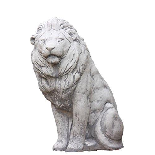 Steinfigur sitzender Löwe, Raubkatze, Tierfigur aus Steinguss