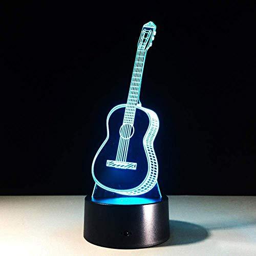 Guitarra Luz Nocturna 3D 7 Instrumentos Musicales Táctiles Que Cambian De Color Lámpara De Mesa Led 3D Lámpara De Mesita De Noche Para Niños