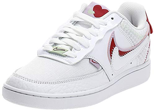 Nike Damen WMNS Court Vision LO PRMV Basketball Shoe, White/Noble Red-Ice Lilac, 38 EU