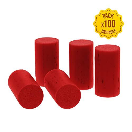 Corchos para botellas de vino tapones para botella de cristal Pack 100 unidades corcho natural tapon corcho para manualidades decoracion accesorios para recipientes de cristal (Rojo sintetico)