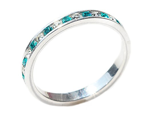 Ah! Jewellery Ladies Clear & Ocean Blue Simulated Diamonds Full Eternity Band. Solid Sterling Silver. Stamped 925.