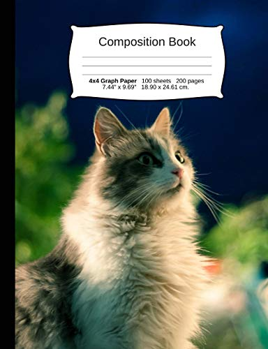 Cat Composition Notebook, 4x4 Graph Paper: 4x4 Quad Rule Composition Book, Student Exercise Science Math Grid, 200 Pages, 7.44 X 9.69