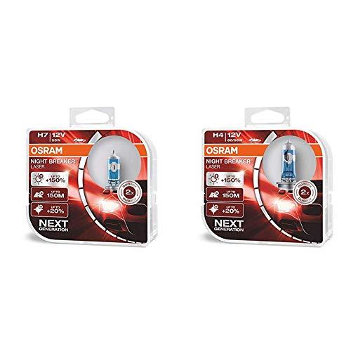 OSRAM 64210NL-HCB Night Breaker Phare Halogène Laser H7, 12V 64193NL-HCB Night Breaker Phare Halogène Laser H4-12 V- Set de 2