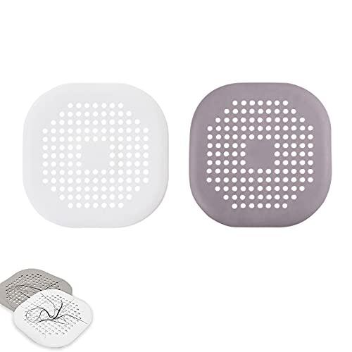 LuLiyLdJ 2 filtros de desagüe de silicona cuadrados, para bañera o ducha, con ventosa, para baño y cocina