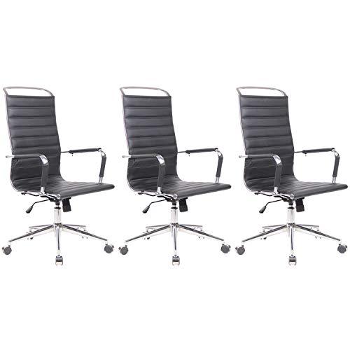 3X Bürostuhl Drehstuhl Konferenzstuhl Office Chair Barnes Echtleder schwarz