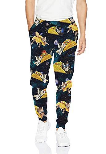 Uideazone Men's Hip Hop Trousers Fashion 3D Print Graphic Sweatpants Artistic Pants Joggers Blue Large