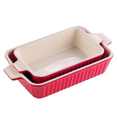 MALACASA Serie Bake.Bake Juego de Molde para Horno 2pcs Platos Rectángulo para Hornear, Porcelana, Ideal para lasañas, Tartas, Cacerolas, Tapas