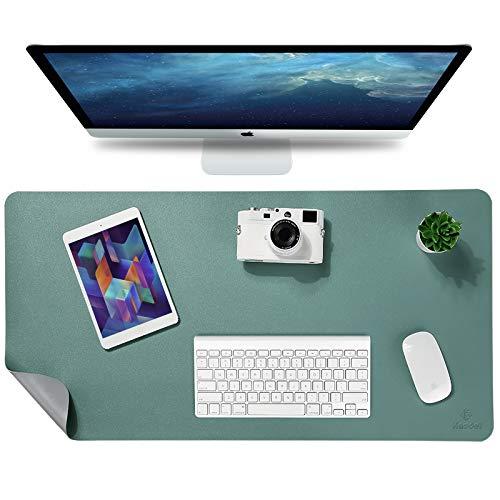 Knodel Tischunterlage, Schreibtischunterlage, 80 x 40cm PU-Leder Tischunterlage, Laptop Tischunterlage, wasserdichte Schreibunterlage für Büro- oder Heimbereich, doppelseitig (Grün/Grau)