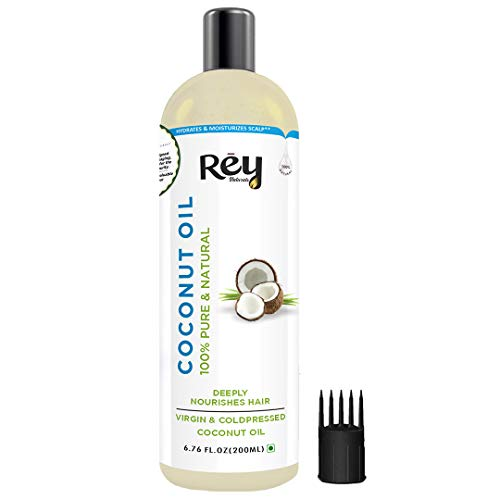 Rey Naturals® Cold Pressed Coconut Oil For Hair and Skin - 100% Pure & Natural, 200 ml
