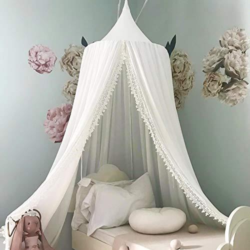 Funkprofi Baby Baldachin Betthimmel, Babybett Chiffon Moskitonetz, Hängendes Kuppel Mückennetz für Kinderzimmer, Schlafzimmer, Spiel und Lesen Zeit, Baby Insektenschutz(Chiffon mit Spitze, Weiß)