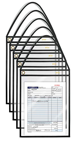 Shop Ticket Holders with Hanging Strap, 9 x 12 Inches, Both Sides Clear, Stitched Black Heavy Duty Canvas Edge Trim, by Better Office Products, 15 Pack
