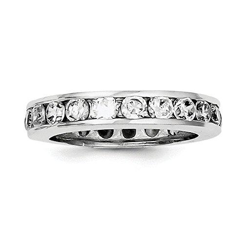 Anillo de plata de ley 925 con circonita cúbica pulida maciza y circonita cúbica de imitación de diamante de eternidad, tamaño L 1/2, joyería de regalo para mujeres