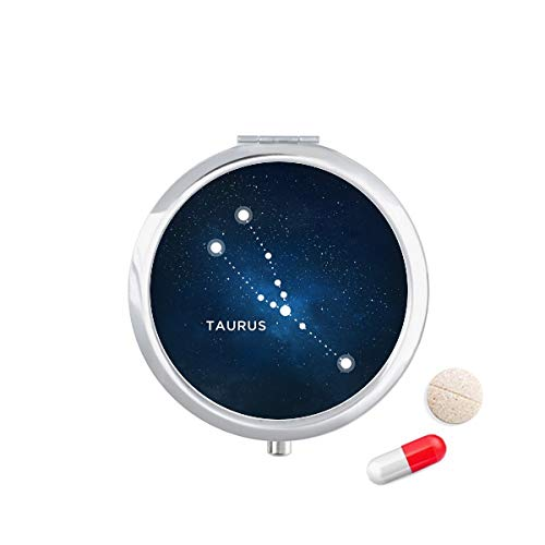 DIYthinker Stier sterrenbeeld Zodiac teken Travel Pocket Pill Case Medicine Drug Opbergdoos Dispenser Spiegel Gift